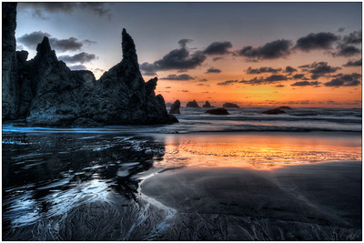 Ocean Sunset, Oregon, Fine Art, Tide pools, HDR