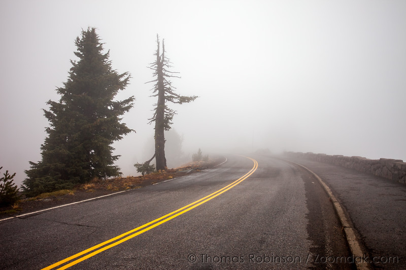 The Rim Road at Crater Lake in Heavy Fog
