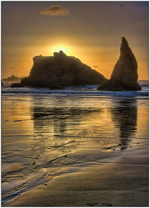 Bandon Sunset, Oregon, Sunset, Sea Stacks