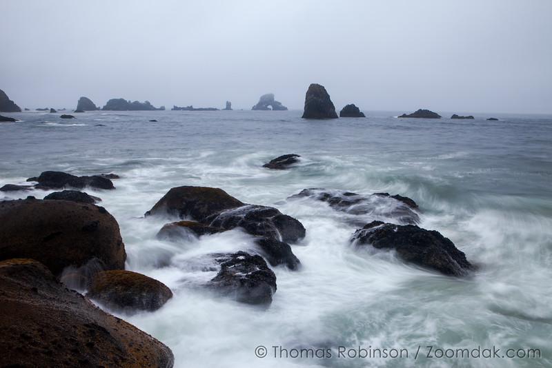 Indian Beach Waves in Evening Mist
