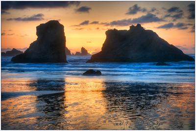 Bandon Sunset 2, Oregon, Sea Stacks, Sunset