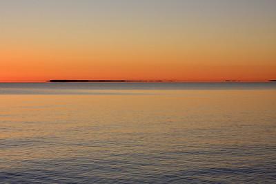 Looking across Green Bay to Washington Island.
