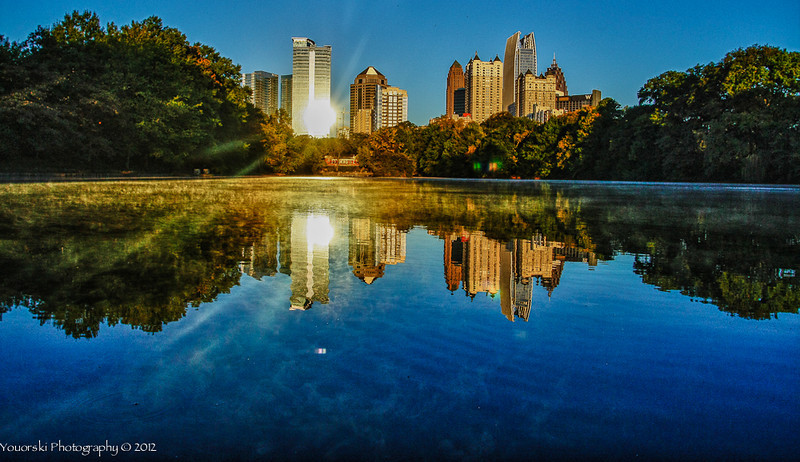 Lake Clara Meer at Piedmont Park in Atlanta GA. Taken with my wide angle lens a few inches from the surface of the water.