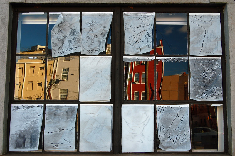 Tanner Building window and reflected view of South Street, Athens, GA (Clarke County). 2007
