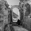 Arch with Figure-Ephesus Ruins-Kusadasi, Turkey (BW)