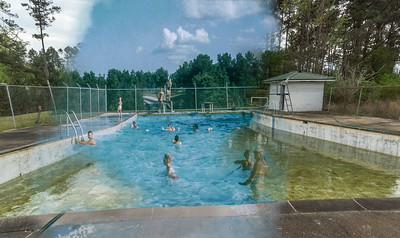 Swimming pool then and now. Rephotography