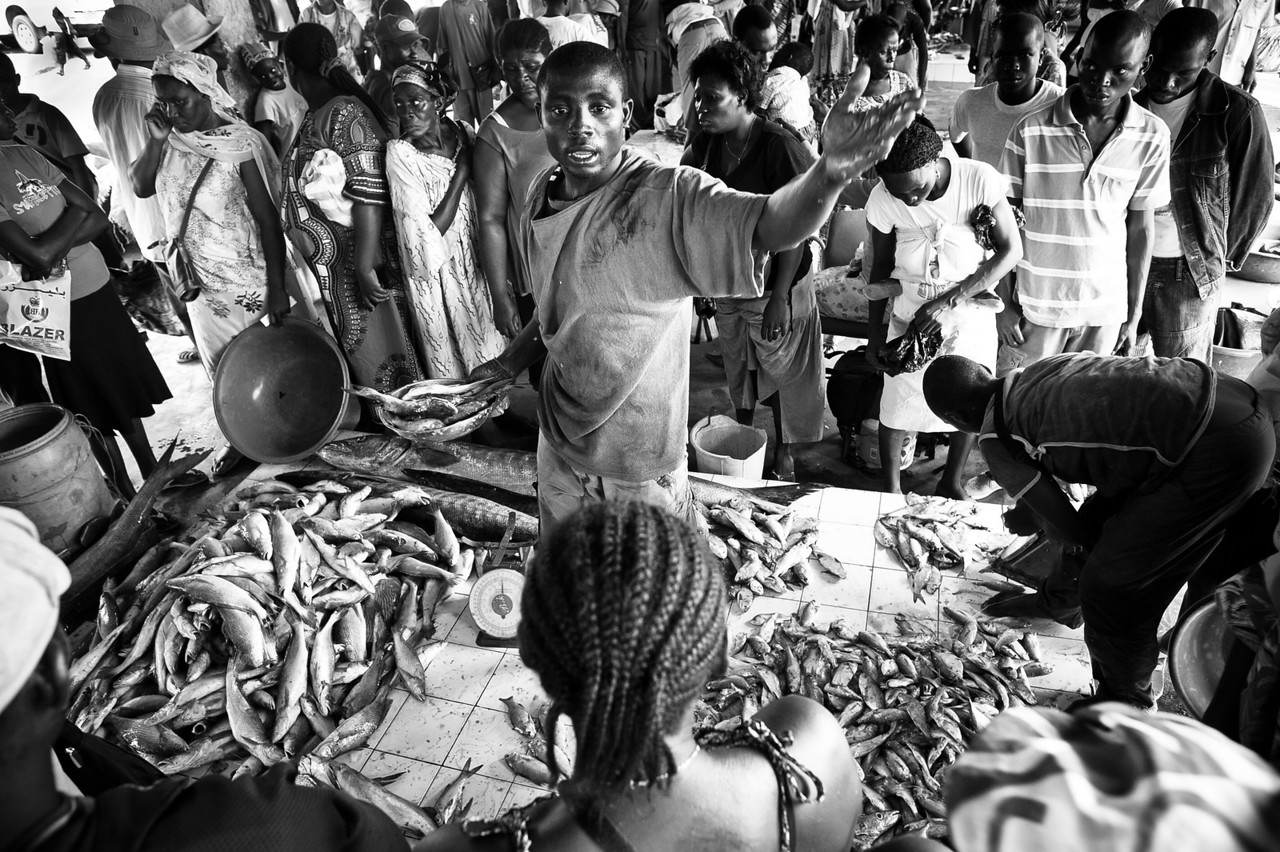 Camerun. Kribi. 2012. The fish market.