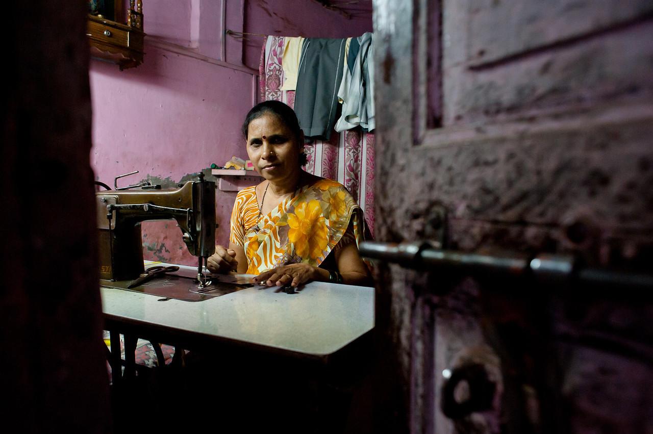 India. 2011. Mumbai. Dharavi slum. The dressmaker.