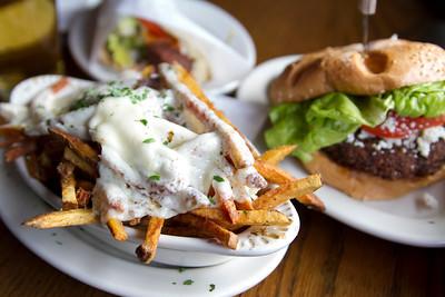 Kasseri Fries, Garbonzo Bean Burger, and Falafel at The Hilt