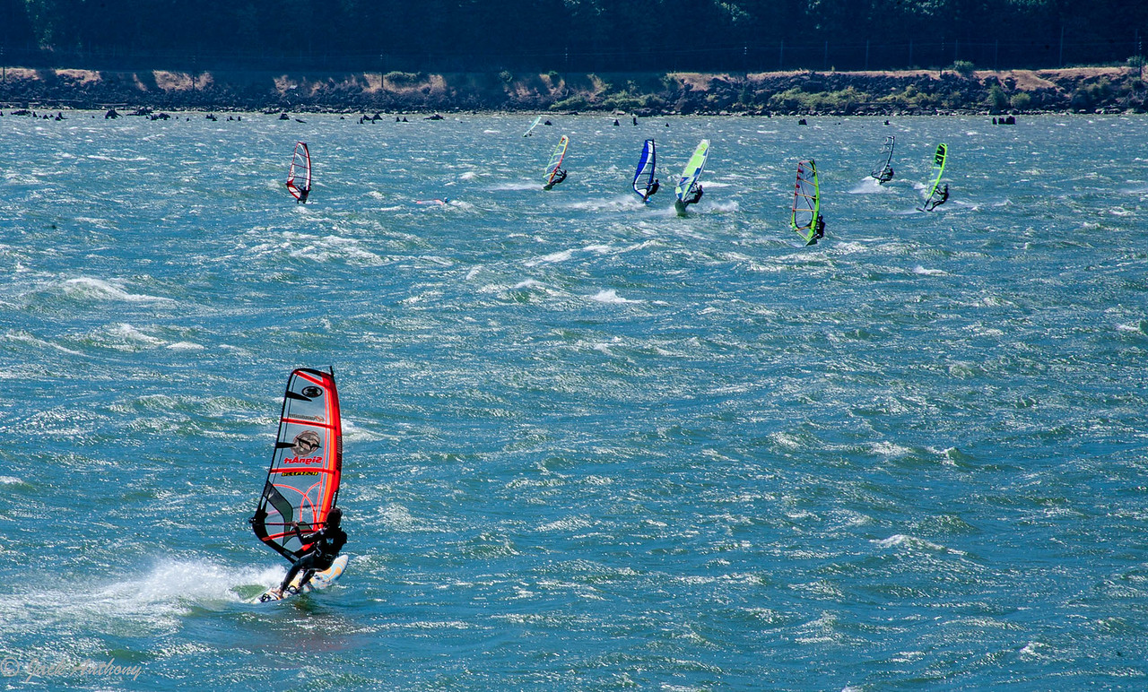 Surf Sailing on the Columbia River, Washington