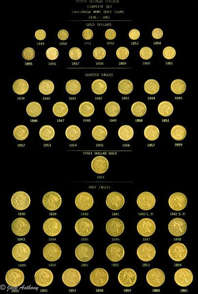 Complete mint set of gold cins minted in Dahlonega, Ga.