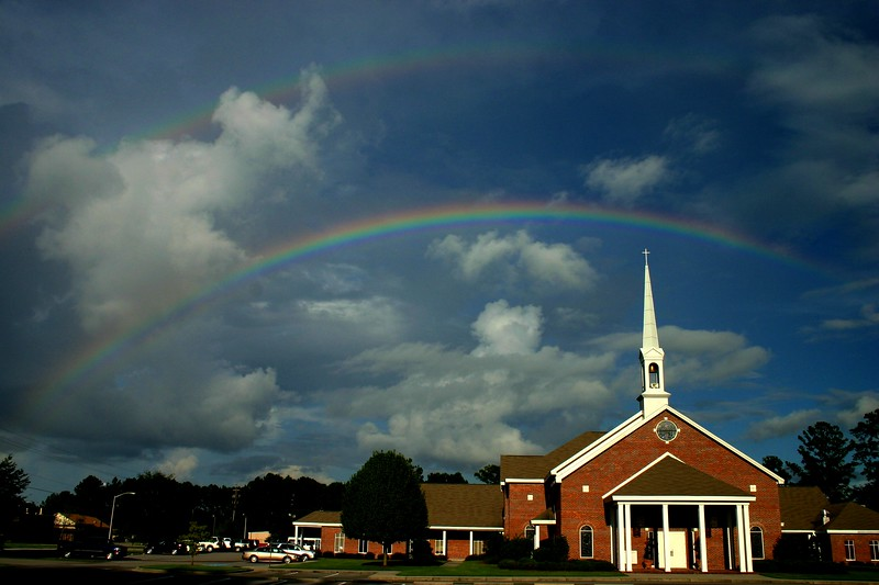 Double rainbow (double Promise) over Ridgeland Baptist Church,Ridgeland, SC<br /> My church
