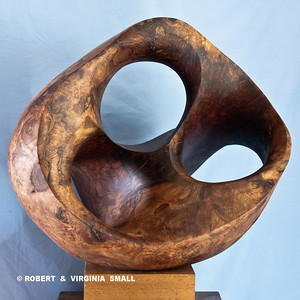 LOTUS POD - VIEW 1 21h X 22w X 19d  black walnut NOT FOR SALE