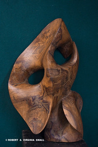 FIGHT NO MORE FOREVER  View #1  (All California Art  58TH National Show)  32H X 21W X 13D  black walnut