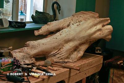 WORK IN PROGRESS - EARTH ANGEL sculpture 46 h x 18 w x 19d  spalted maple