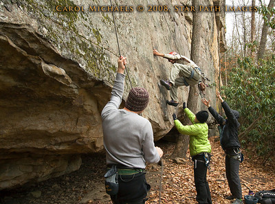 Penn climber, Ron, taking another lap on the Long Wall, Summersville Lake WV.