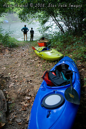 Paddlers contemplating the rise of the Smith River flow before launch.