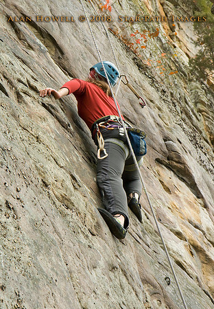 Penn climber, Melissa, styling a crux on the Long Wall, Summersville Lake WV.