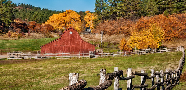 Near Durango, Colorado a country barn nestles among the changing fall colors.
