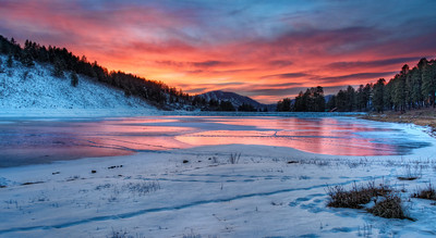Winter Sunset at Lake Simpatico, our back yard in Colorado