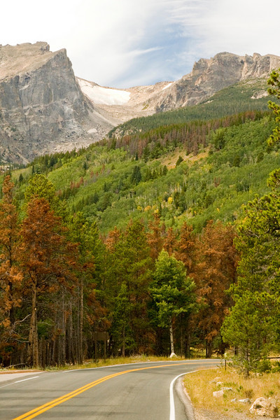 Hallett Peak and Flattop Mountain from the Bear Lake Road above Sprague Lake in the Rocky Mountains National Park