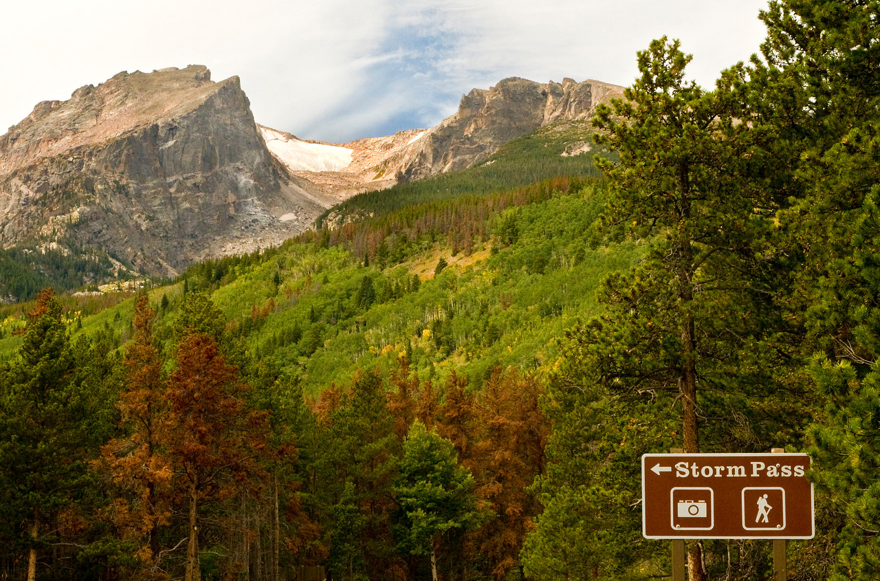 Hallett Peak and Flattop Mountain from the Storm Pass turnoff and trailhead on the Bear Lake Road in Rocky Mountain National Park.