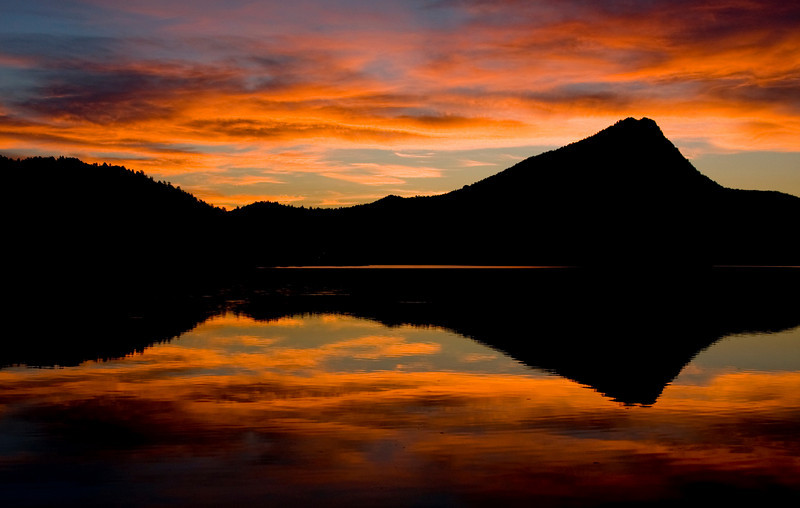 Mount Olympus Reflected In Lake Estes at Sunrise in Estes Park, CO.