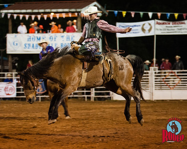 Bronc riding at the 32nd Annual Shady Dale Rodeo Saturday June 6, 2015