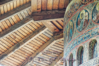 Fresco painting detail and roof, Voronet Monastery Church.