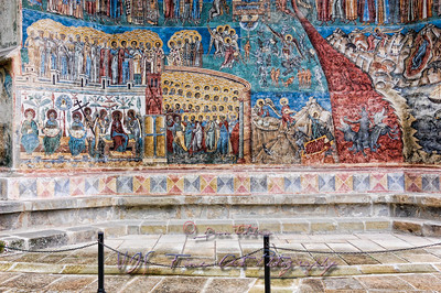 Fresco painting wall, Voronet Monastery Church.