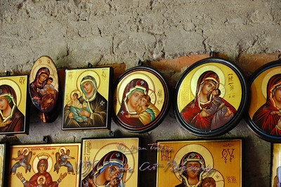Icons on sale, Voronet Monastery.