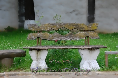 Bench behind church, Voronet Monastery.