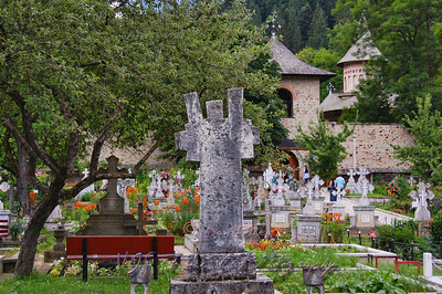 Cemetery at entrance of Voronet Monastery.