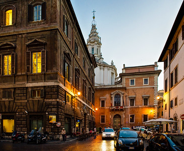 Rome. Piazza Sant' Eustachio. The building with the white spiraling tower houses the oldest university in Rome.
