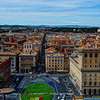 View from the top of the Vittoriano Monument in Rome north toward Piazza del Popolo along Via del Corso.