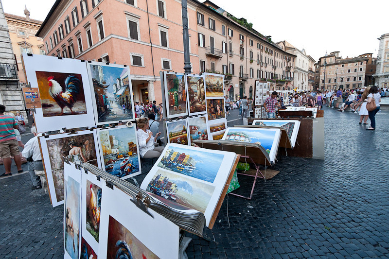 Piazza Navone with an art festival
