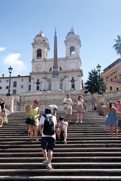 The Spanish Steps (Scalinata della Trinità dei Monti), Piazza di Spagna leading to the French church - Trinità dei Monti
