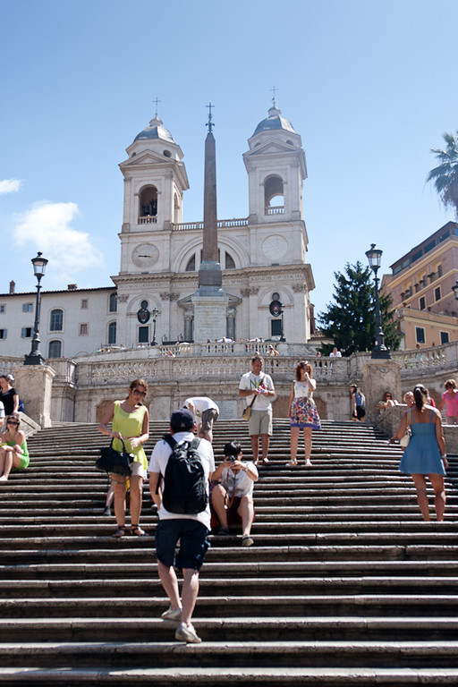 The Spanish Steps (Scalinata della Trinità dei Monti), Piazza di Spagna leading to the French church - Trinità dei Monti
