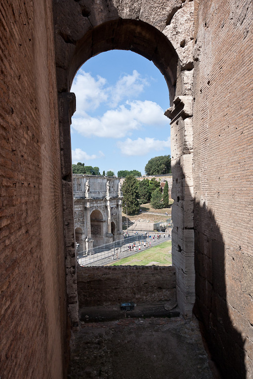 View of the Arch of Constantine through an arch in the Colosseum