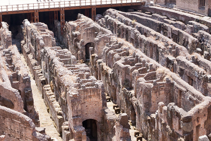 Close-up view of the subterranean area under the floor of the Colosseum
