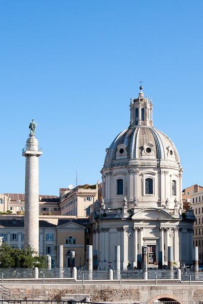 Trajan's Column (left) and Basilica Aemilia