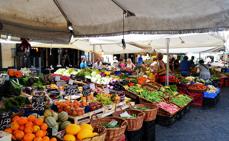 Fruit and Vegetable Market in Rome Italy