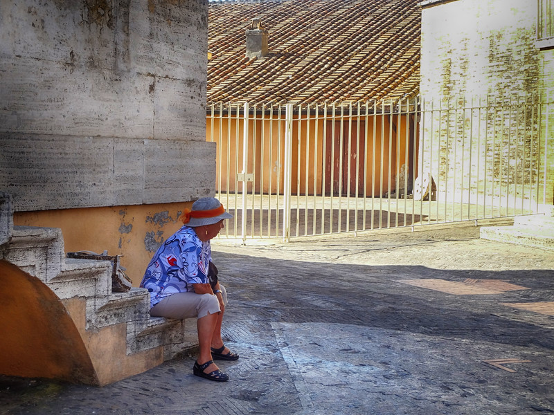 Resting for a Moment at St Peter's Basilica in Rome Italy