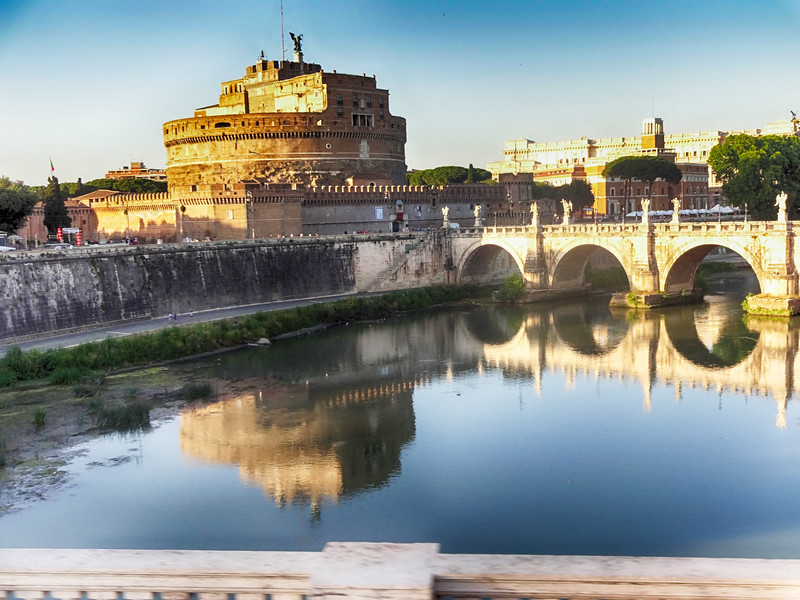 Looking at the Vatican and Saint Peters from the Other Side of the Tiber River in Rome Italy