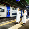 Waiting For Our Train with Two Nuns in Rome Italy