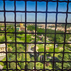 Looking Through the Fence at the Top of the Dome at St Peters in Rome Italy