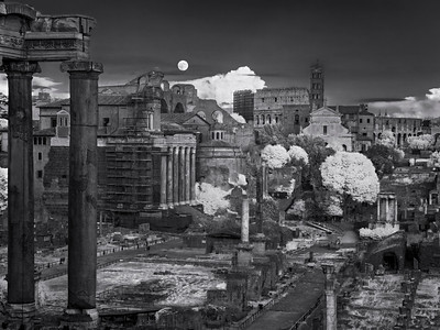 Super Moon rise over the Forum infrared BW