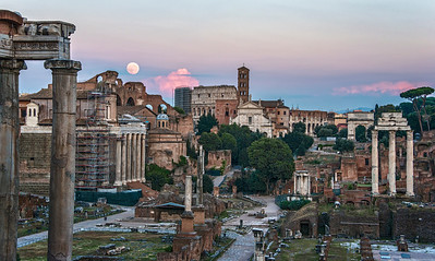 Super Moon rise over the Forum
