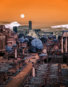 Super Moon rise over the Forum infrared