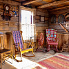 Wooden interior of a log cabin in the mountains